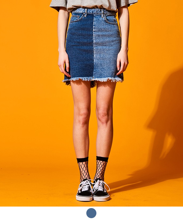 MISMATCH DENIM SKIRT