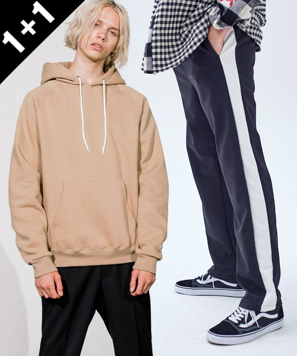 [1+1] [기모] NEW 950g TUMBLE NAPPING HOODIE + JERSEY LINE TRACK PANTS